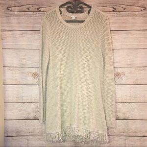 J Jill Beige Fringe Sweater Tunic